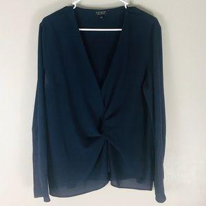 Topshop knit front v neck navy blouse 12